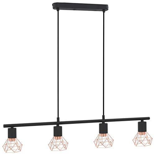 Plafondlamp E14 80 cm zwart en koper
