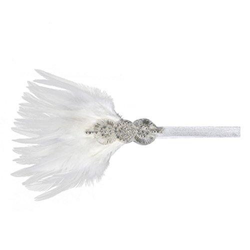 FENICAL Diamante Flapper Hoofdband 1920s Hoofdstuk Ascot Race Bruiloft Party Vrouwen Haaraccessoires (wit)
