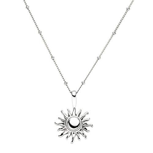 PURELEI ® Sun Halskette (Gold, Silber & Rosegold) Mit Sonne Anhänger (50/55 cm Länge) (Silber)