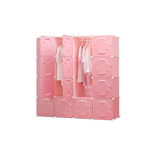 Best Price QSJY Bedroom Armoires Assemble Plastic Cloth Wardrobe Cube Organiser Pink 147×47×147cm ...
