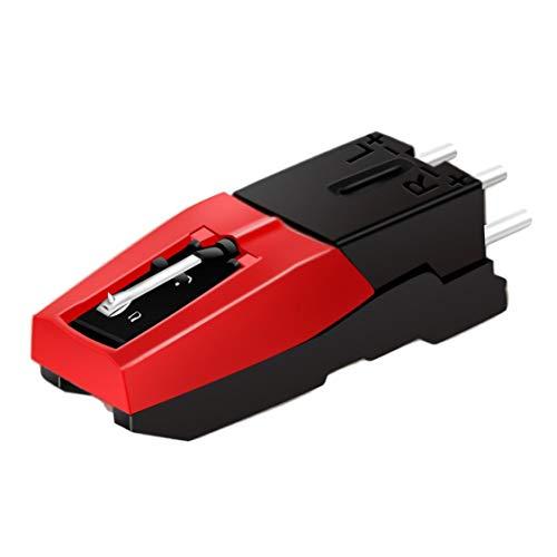 Dynamovolition Cartucho de fono giratorio con lápiz de repuesto negro y rojo para reproductor de discos de vinilo Dispositivo económico duradero - negro + rojo