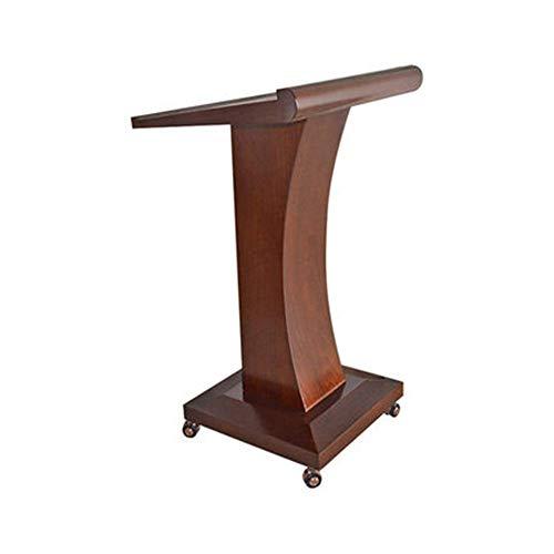 ZzheHou Rednerpult Mobile Rollen Pult Podium Tisch Hosting Rezeption Präsentationspodium Holz Katheder Ständer (Farbe : Coffee, Size