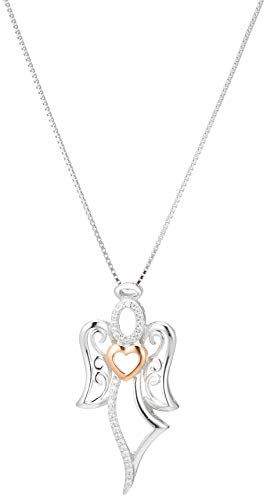 Two-Tone Sterling Silver and Rose Gold Over Sterling Silver Angel with Heart Pendant Necklace, 18