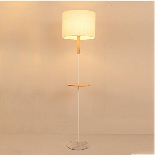 Good thing Lampadaire Lampadaire Tissu en acier inoxydable bois 160 cm Nordique chambre lampe de chevet salon salle à manger étude hôtel lumières (Couleur : Blanc)