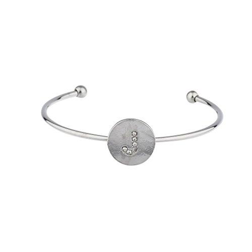 LUX Zubehör Silber Ton Buchstabe J Kristall Stein Armreif Armband