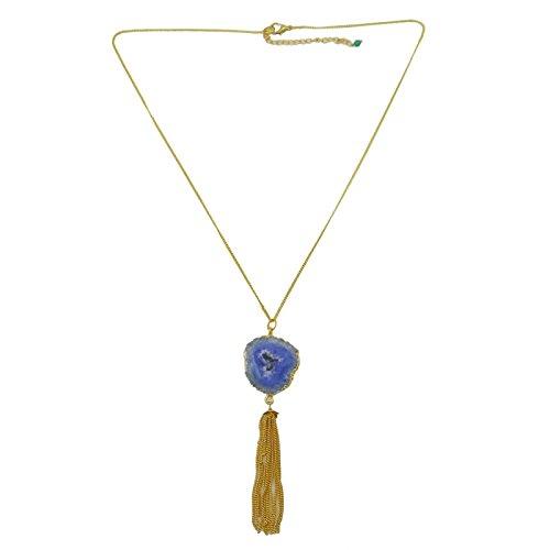 Oro Mujeres plateó Druzy ágata de la piedra preciosa de la joyería pendiente de cadena