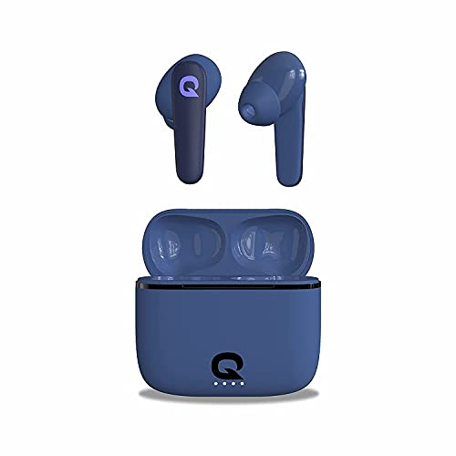 Quantum SonoTrix X True Wireless Earbuds TWS, 6 Hours Playback 42 Hours with Charging Case, Bluetooth 5.0, IPX5 Sweatproof, Touch Controls, Voice Assistance, Dual Mic, Type-C Fast Charging (Blue)
