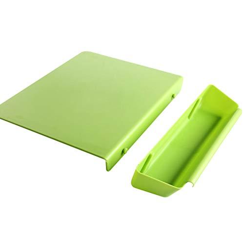 Taicanon Tabla de cortar práctica para cocina, almacenamiento dos en uno con ranura para verduras, tabla de cortar frutas gruesas, 33 x 24,5 cm (verde)