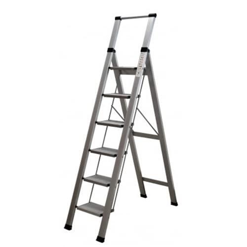 Escalera Plegable Profesional de Aluminio Plana. fácil de almacenar, Mide 7cm Cerrada, Apertura en Tijera, 6 peldaños de 46x17cm . Uso Profesional y doméstico
