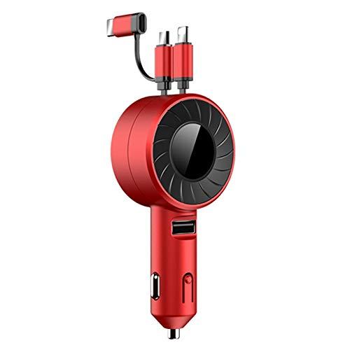 Haude Cargador de Coche 3 en 1 para para Android Cable PortáTil -USB Tipo C Cable TelescóPico MultifuncióN Rojo