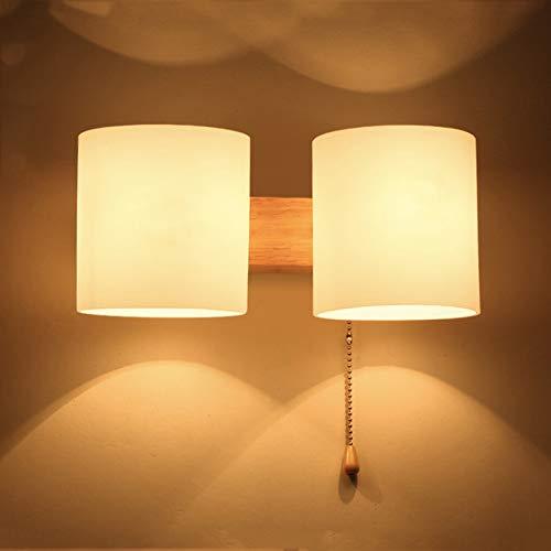YLLHK Lámpara de Pared Madera Dormitorio Simple Moderna, Creativo Apliques de Pared con Interruptor de Control por Cable, Portalámparas E27 doble, para Salon, Pasillo, Escalera, Balcón