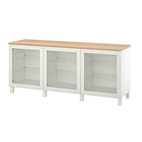 BESTÅ opbergcombinatie met deuren 180x42x76 cm wit/Sindvik/Stubbarp wit helder glas