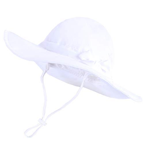 Happy Cherry - Bebé Sombrero Pescador Protección Sol Verano Gorro con ala para Infantil Niño Niña Bucket Hat para Playa Viajes Vacaciones - Blanco - 2-4 Años