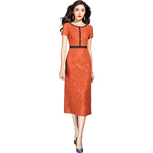 BINGQZ Cocktail Jurken Mode rok vrouwelijke zomer temperament mode Slim een woord rok oranje kanten jurk