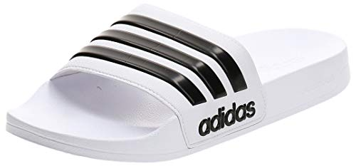 Adidas Men's Cloudfoam Adilette Adilette Flip Flops,White (Footwear White/core Black/footwear White),9 UK/43 EU