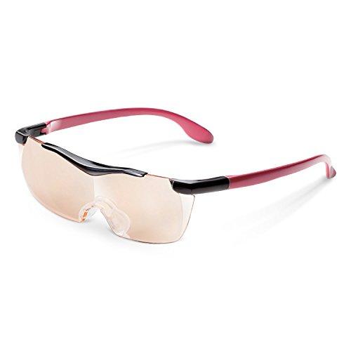エレコム 拡大鏡 メガネ型ルーペ 1.6倍 UV/ブルーライトカット ブラウンレンズ ネックストラップ付 レッド L-BUB16-L01RD
