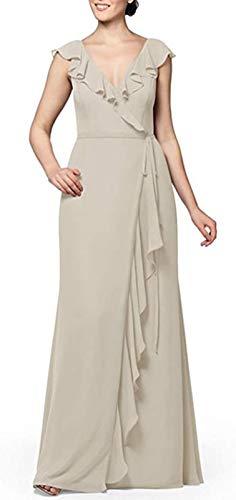 JAEDEN Robe de Demoiselle d'honneur Longues Robes de Bal en Mousseline de Soie Robes de soirée Formelles Volants Mariage col en V Tofu EUR56
