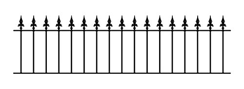 Saxon Spear Top Garden Fencing Panel 1830mm (6ft) GAP x 490mm High Galvanised wrought iron metal fence railing SAZP03
