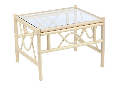 Desser Bali Coffee Table with Toughened Glass Top – Sturdy Natural Wash Cane Pole Frame Indoor Conservatory or Living Room Furniture - H47cm x W67cm x D52cm