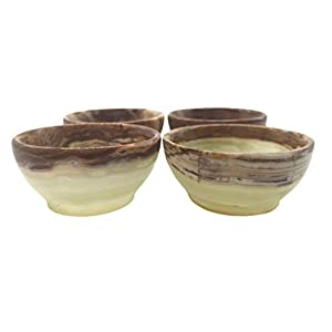 """Set of Four 2"""" Onyx Bowls from Pakistan - Hand carved - Small Bowls - Smudging - Offering Bowl - Healing Crystal Stone Dishes - Circular Decorative Bowl - Home Decor -"""