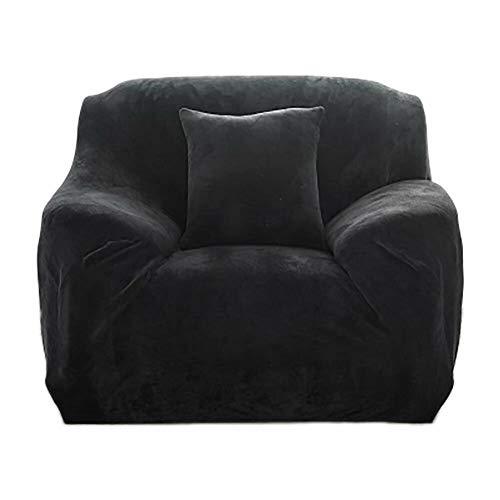 JS One Dehnbare 1 Sitzer Sofa Abdeckung Slipcover Settee Couch Protector (90-140cm) schwarz