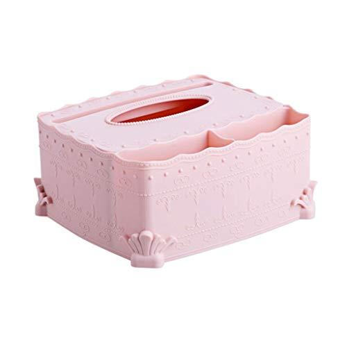 NYKK Caja Pañuelos Caja de pañuelos de Escritorio Tallada Europea Bandeja de la servilleta Salón Comedor Mesa de café Caja de Almacenamiento Dispensador Pañuelos (Color : Pink)