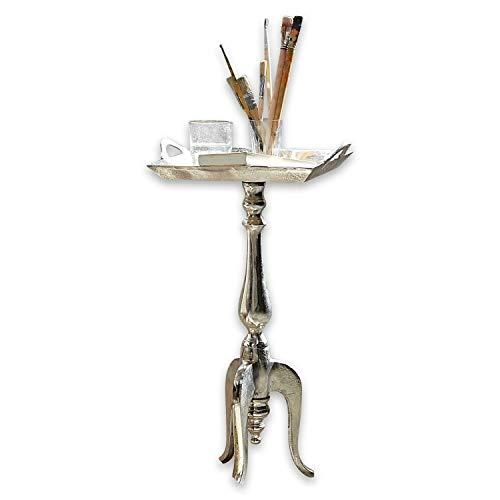 Loberon Beistelltisch Melvin, Aluminiumguss, H/B/T ca. 67/38 / 33 cm, antiksilber