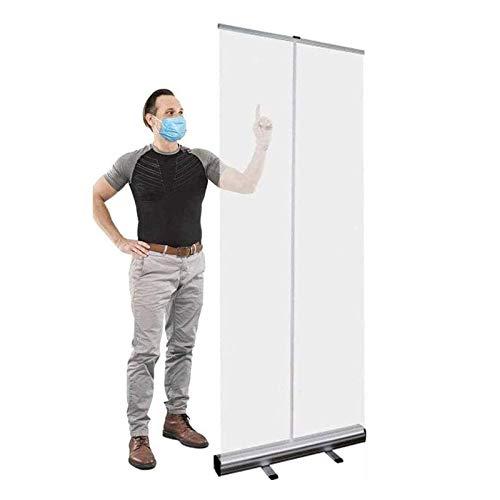 F-XW Protector De Estornudo, Banner Enrollable Transparente, Mampara de Protección, En Pie Divisor Pantalla, para Oficinas y Trabajo Bar, 60 × 160 cm, 80 × 180 cm