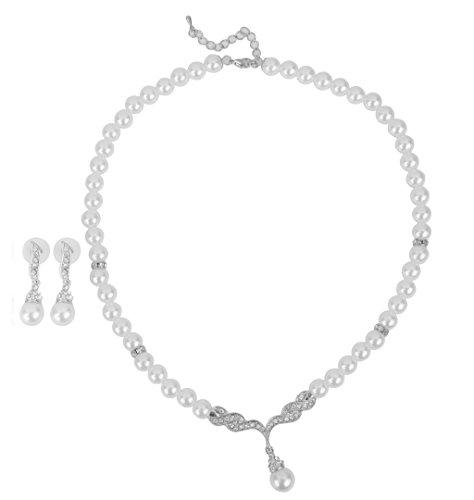 Gazechimp Strass Perlen Schmuck Set Halskette+Ohrringe Brautschmuck Hochzeit Silber