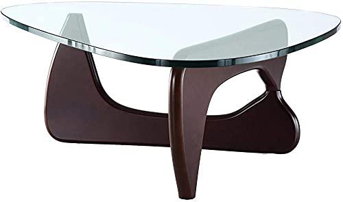 Mesa de centro triangular de cristal para salón Noguchi, estructura de madera maciza y cristal templado triangular, moderna y sencilla mesa auxiliar de salón