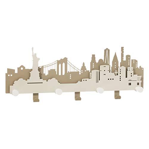 ARTI E MESTIERI 0AP3381C101 Appendiabiti da Parete N.Y.C. New York La Grande Mela Beige Avorio Made in Italy