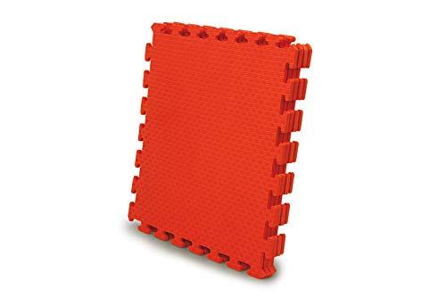 Jamara 460419-Alfombra Puzzle 50 x 50 cm 4pz. -Sistema de conexión fácil, Antideslizante, Lavable, Resistente, Color Rojo (460419)