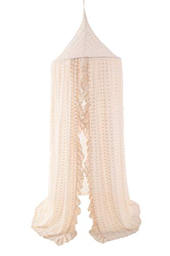 Wonder Space Elegant Kids Bed Canopy - Lace Chiffon Netting with Pom Pom, Princess Girls Fairy Dream Tent, Nursery Room Baby Crib Hanging Curtain Mosquito Net Children Reading Nook Decoration, Beige