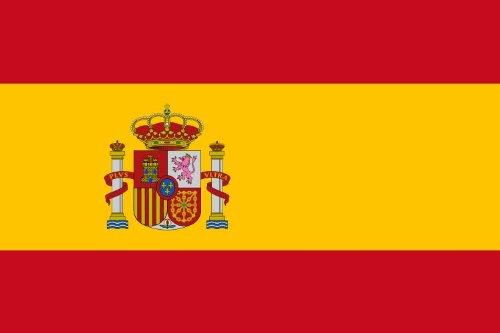 Michael & Rene Pflüger Barmstedt - Premium Aufkleber - 8,4x5,4 cm - Fahne/Flagge von Spanien mit Wappen Espana Spain Sticker Auto Motorrad Bike Autoaufkleber