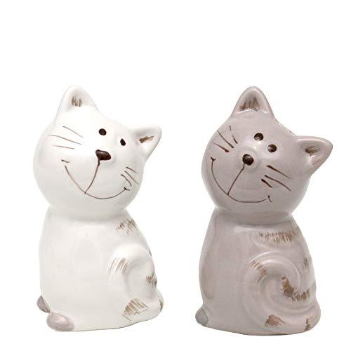 Dekohelden24 2er Set Keramik Salz-/ Pfefferstreuer/Gewürzstreuer als Katzen, Maße ca. 7 x 6 x 7 cm.