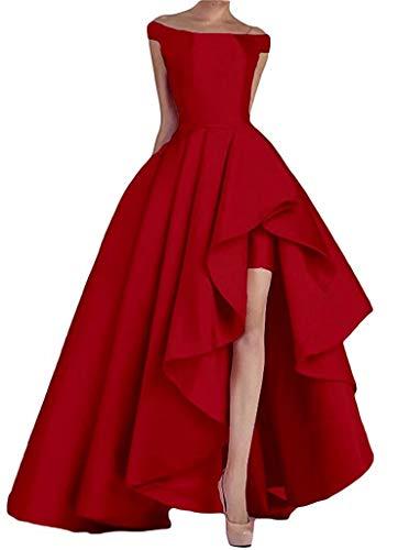NaXY Abendkleider Lang Elegant Ab-Schulter High-Low Prinzessin Liebsten Asymmetrische Satin Ballkleider Lang Prinzessin Partykleid Rot Size 36