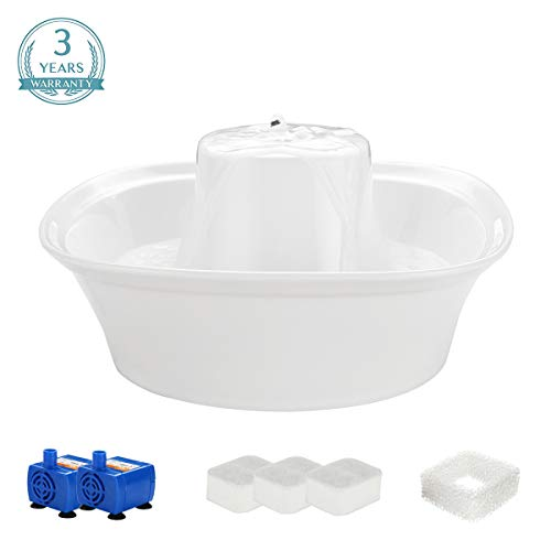 iPettie Fiumi Ceramic Pet Drinking Fountain | Ultra Quiet Water Dispenser for Cats and Dogs | 2L with 3 Replacement Filters, Perfect for Small Pets