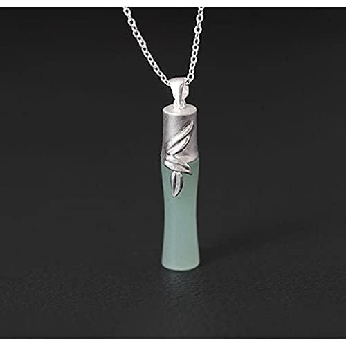 ShSnnwrl Colgante Accesorios Populares Collar Colgante Mujer Plata de Ley 925Hecho a Mano con Incrustaciones de bambú Collar d