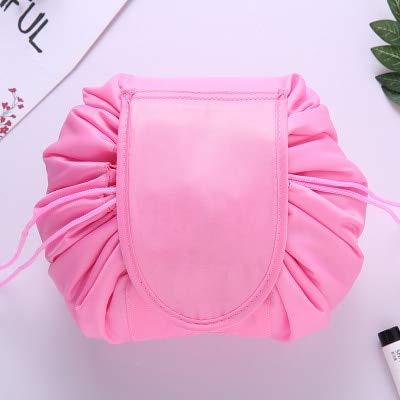 Women Drawstring Travel Cosmetic Bag Makeup Bag Organizer Make Cosmetic Bag Case Storage Pouch Toiletry Beauty Kit Box Deep Pink