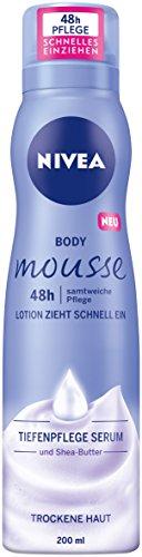 NIVEA Körper Mousse mit Sheabutter, Für trockene Haut, 200 ml Spender, Body Mousse