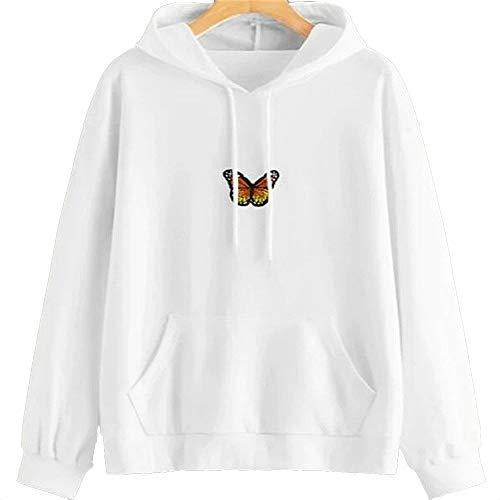Sudaderas Mariposa para Mujer Sudadera con Capucha Bordada de Mariposa de Manga Larga Informal Camiseta Tops Sudaderas con Capucha de Color Liso Jerseys Blusas con cordón para niñas