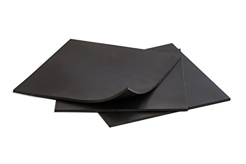 Rubber Sheets, Black, (Pack of 3) 6x6-Inch by 1/8 (+/-10%) Duro A60. Neoprene, Plumbing, Gaskets DIY Material, Supports, Leveling, Sealing, Bumpers, Protection, Abrasion, Flooring