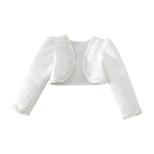 iiniim Mädchen Bolero Jäckchen Langarm Schulterjacke für Hochzeit Taufe Kleid Gr.92-140 Weiß 92-98/2-3 Jahre