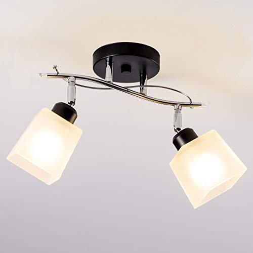 Lámpara de techo clásica, SOZOMO 2 en 1 con pantalla de cristal esmerilado geométrico, ángulo intercambiable, 2 luces, montaje empotrado para baño, dormitorio, acabado en níquel cepillado (sin bombilla)