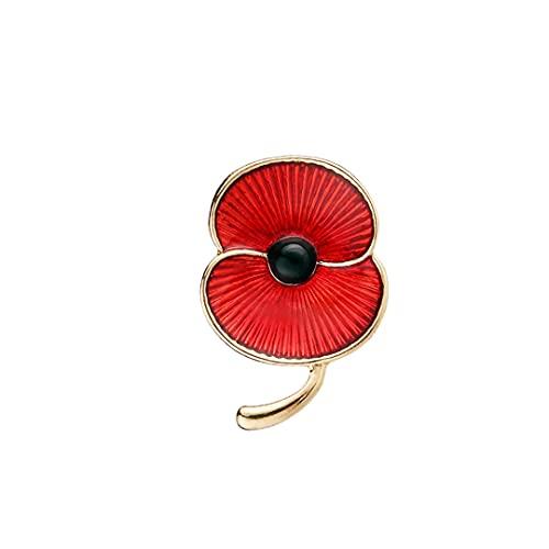 Paquete de 4 2021 broche de flor de amapola roja insignia, amapola esmalte pin solapa regalo aniversario