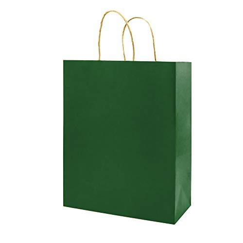 100 Pack 5.25x3.25x8 inch Small Green Kraft Paper Bags with Handles Bulk, Bagmad Gift Bags, Craft Grocery Shopping Retail Party Favors Wedding Bags Sacks (Dark Green, 100pcs)