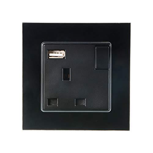 No Brand UK Plug USB-poort muur AC 110 V-250 V DC voeding oplader uitgang met schakelaar Black Panel TE1083 Home Building huishoudelijke apparaten