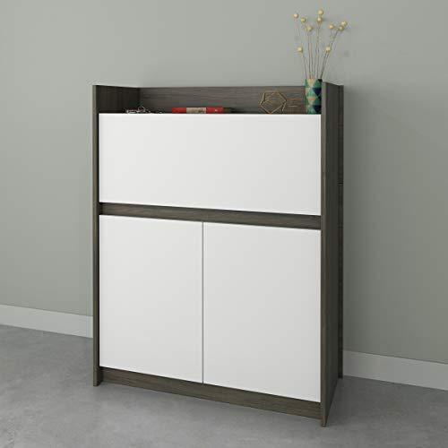 Nexera Chrono , Bark Grey & White Secretary Desk,