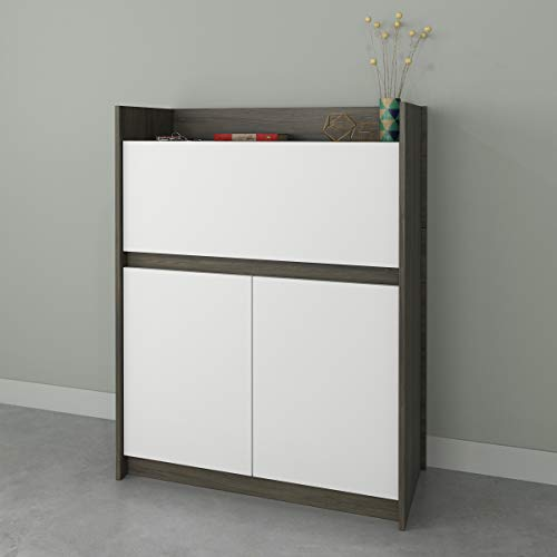 Nexera Chrono , Bark Grey & White Secretary Desk,