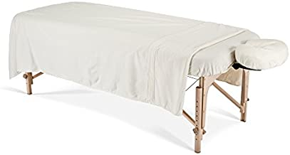 EARTHLITE Flannel Massage Table Sheet Set – Commercial Grade, Soft, Double-Napped 3-Piece Set (Top, Fitted, Face Pillow Cover), Natural
